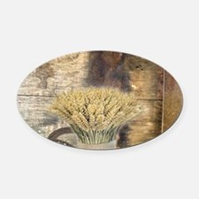 barn wood wheat horseshoe Oval Car Magnet