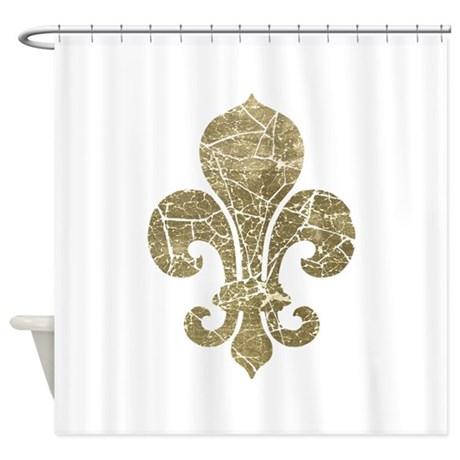 Vintage worn fleur de lis shower curtain by opheliasart - Fleur de lis shower curtains ...
