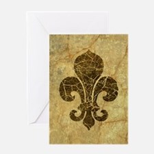 Cracked Red Fleur De Lis Greeting Cards