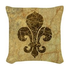 Vintage Worn Fleur De Lis Woven Throw Pillow