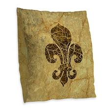 Vintage Worn Fleur De Lis Burlap Throw Pillow