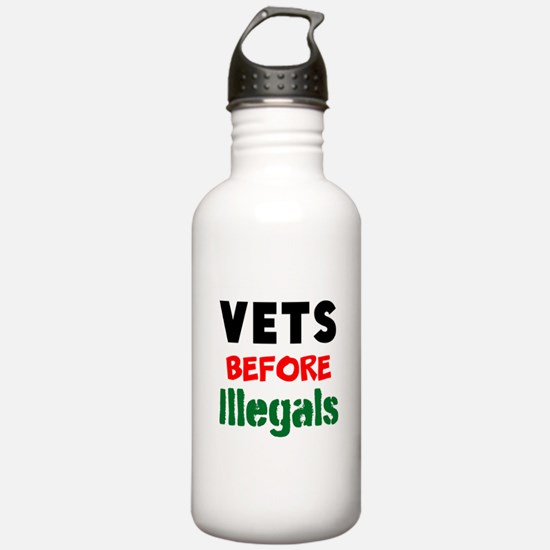 Vets Before Illegals Water Bottle
