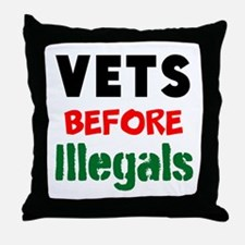 Vets Before Illegals Throw Pillow