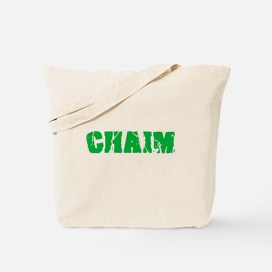 Chaim Name Weathered Green Design Tote Bag