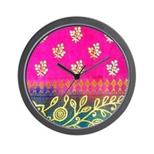 Pink Blue Gold Sari Art Wall Clock