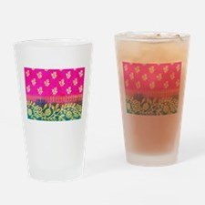 Pink Blue Gold Sari Art Drinking Glass
