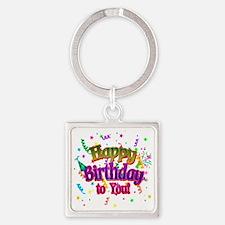 Happy Birthday To You Square Keychain