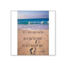 "Cute Framed footprints in the sand Square Sticker 3"" x 3"""
