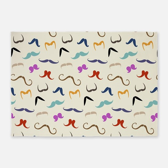 mustaches 5'x7'Area Rug