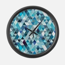 Watercolor Triangles Blue Large Wall Clock