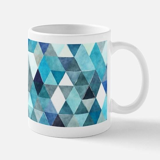 Watercolor Triangles Blue Mug