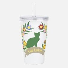 Floral Cat Lover Acrylic Double-wall Tumbler