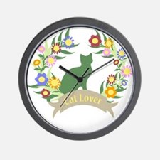 Floral Cat Lover Wall Clock