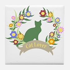 Floral Cat Lover Tile Coaster