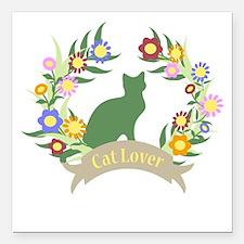 "Floral Cat Lover Square Car Magnet 3"" x 3"""