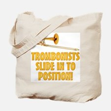 Trombonists Slide In To Position Tote Bag