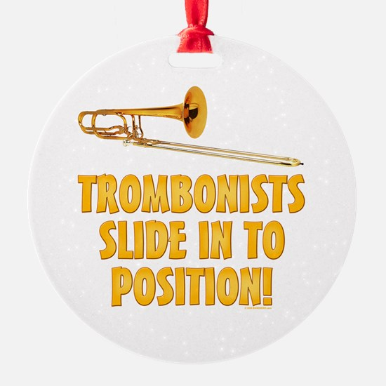 Trombonists Slide In To Position Ornament