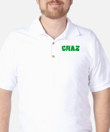 Chaz Name Weathered Green Design Golf Shirt