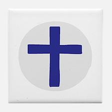 A Cross of Blue Tile Coaster