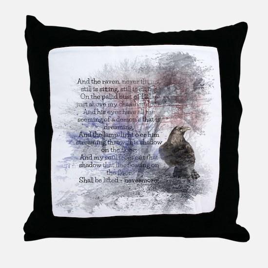 Edgar Allan Poe The Raven Poem Throw Pillow
