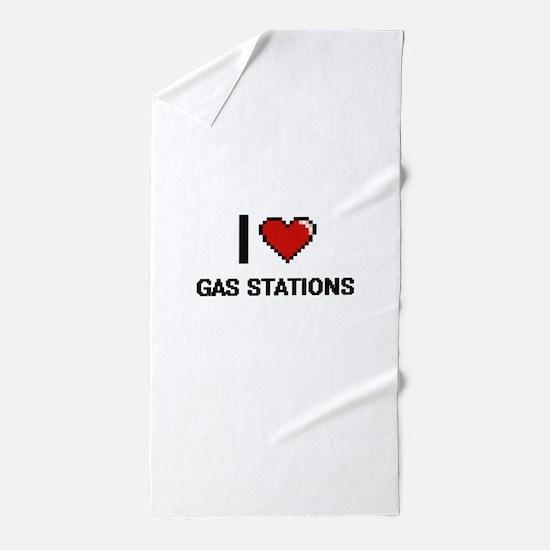 I love Gas Stations Beach Towel