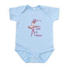 love to dance ballerina art Body Suit