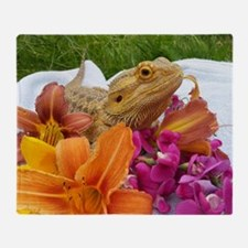 Floral beardie Throw Blanket