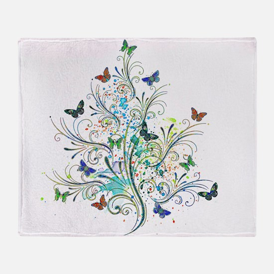 Flourishes and butterflies Throw Blanket