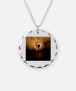Be Brave Necklace Circle Charm