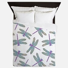Watercolor Dragonfly Pattern Queen Duvet