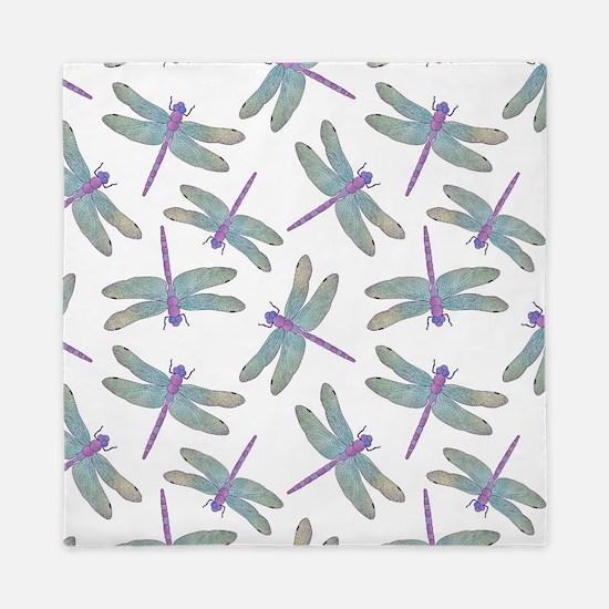 Watercolor Dragonfly Pattern Queen Duvet