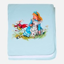 Alice and the White Rabbit baby blanket