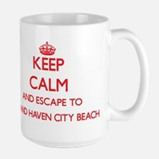 Keep calm and escape to Grand Haven City Beac Mugs