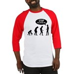 Evolution is following me Baseball Jersey - Availble Sizes:Small,Medium,Large,X-Large,2X-Large (+$3.00) - Availble Colors: Black/White,Red/White,Blue/White