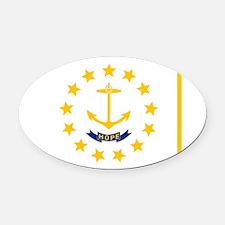 RHODE ISLAND FLAG Oval Car Magnet