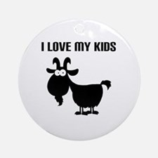 Love Goat Kids Round Ornament