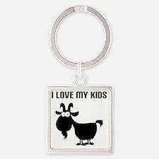 Love Goat Kids Square Keychain