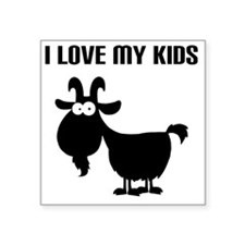 "Love Goat Kids Square Sticker 3"" x 3"""