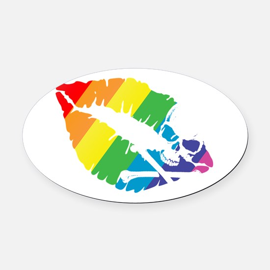 poison rainbow kiss Oval Car Magnet