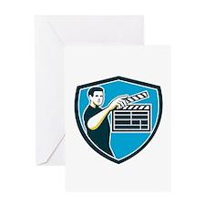 Film Crew Clapperboard Shield Retro Greeting Cards