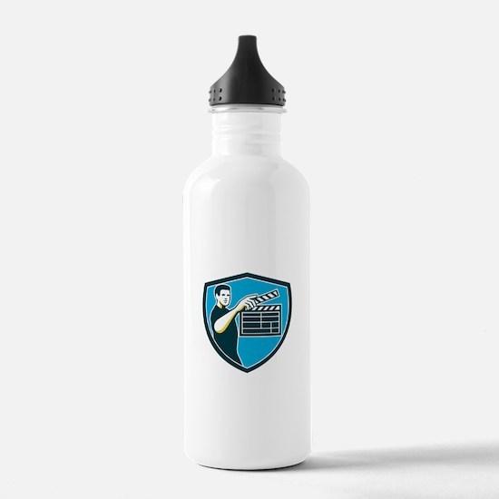 Film Crew Clapperboard Shield Retro Water Bottle