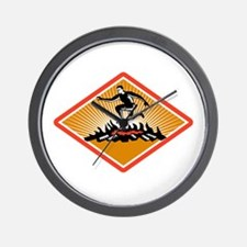 Obstacle Racing Jumping Fire Woodcut Wall Clock