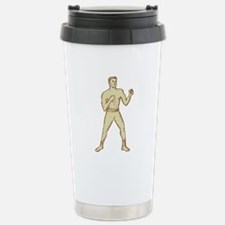 Vintage Boxer Pose Etching Travel Mug
