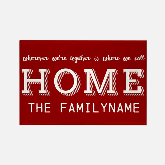 Red and White Home Is... Personal Rectangle Magnet