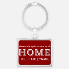 Red and White Home Is... Person Landscape Keychain