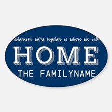 Navy and White Home Is... Personali Sticker (Oval)