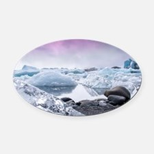 Glaciers of Iceland Oval Car Magnet