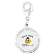 Curling Cool Designs Silver Round Charm