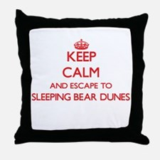 Keep calm and escape to Sleeping Bear Throw Pillow