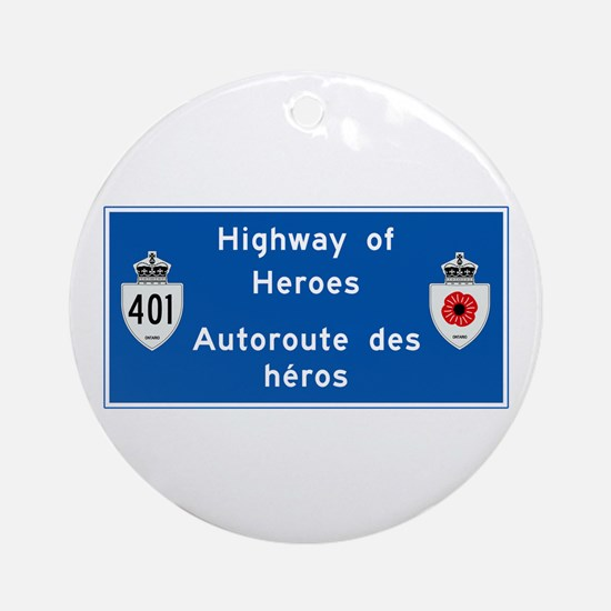 Highway of Heroes 410, Canada Ornament (Round)